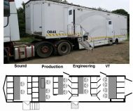 OB45 12-16 camera 13metre SDI trailer with equipment. Can be sold with or without equipment