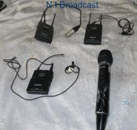2x sony radio microphone kits with beltpacks and small and large mics