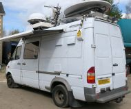 OB43 UKI912 Mercedes sprinter HDSDI high deinition MPEG4 (and MPEG2) Ku band DSNG satellite truck with 1.5m advent dish, 2x xicom 400w Twta HPAs, Panda generator, 12m mast for microwave