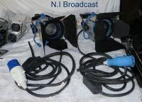 2x arri 300 watt lights with barn doors and 16a cable
